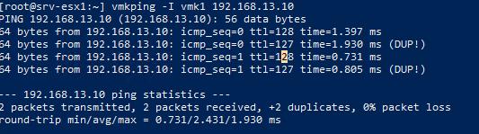 vmkping проверка доступности СХД