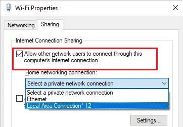 windows 10 Разрешить другим пользователям сети использовать подключение к Интернету данного компьютера