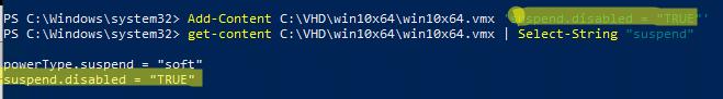 добавить строку в vmx файл с помощью powershell