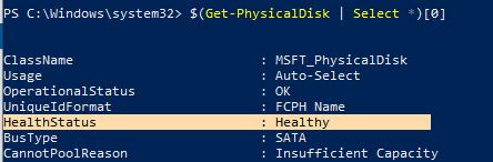 Get-PhysicalDisk