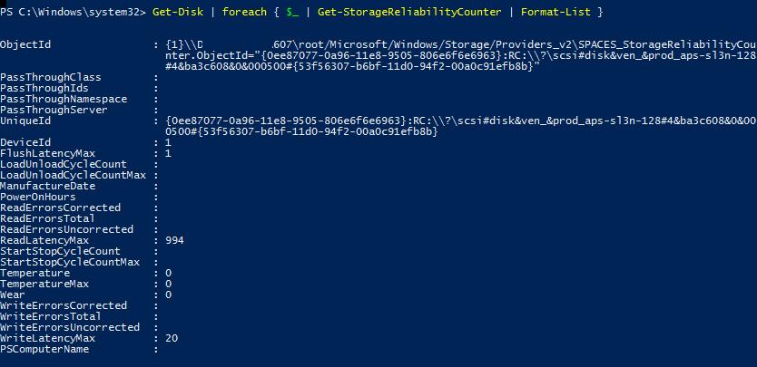 Get-StorageReliabilityCounter информация о состоянии дисков в powershell