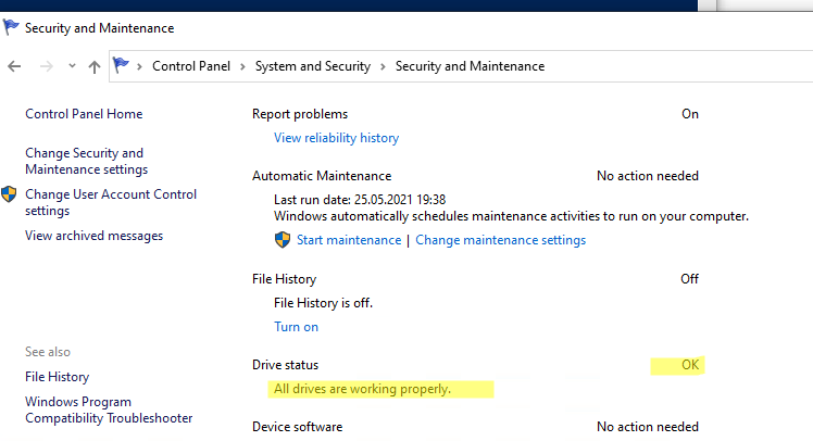 информация о состоянии диска в windows