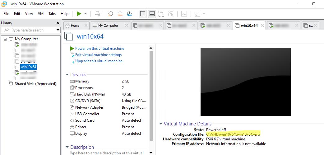 конфигурационный vmx файл виртульной машины vmware workstation