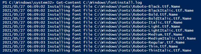 лог установки шрифтов в windows
