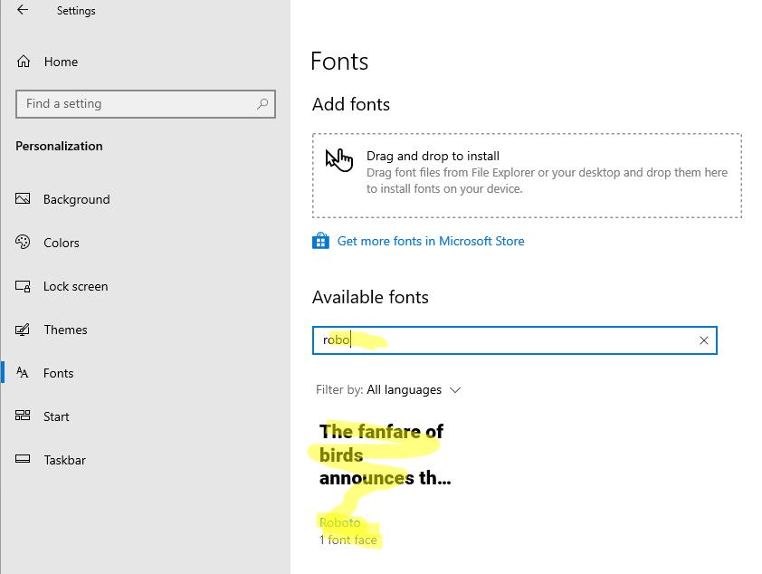 новый шрифт в панели управления windows 10