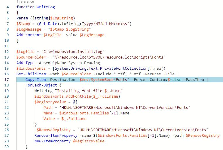 powershell скрипт для установки множетсва шрифтов из сетевой папки в windows 10