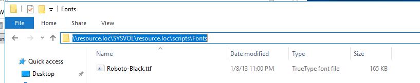 сетевай папка, в которой хранятся файлы шрифтов