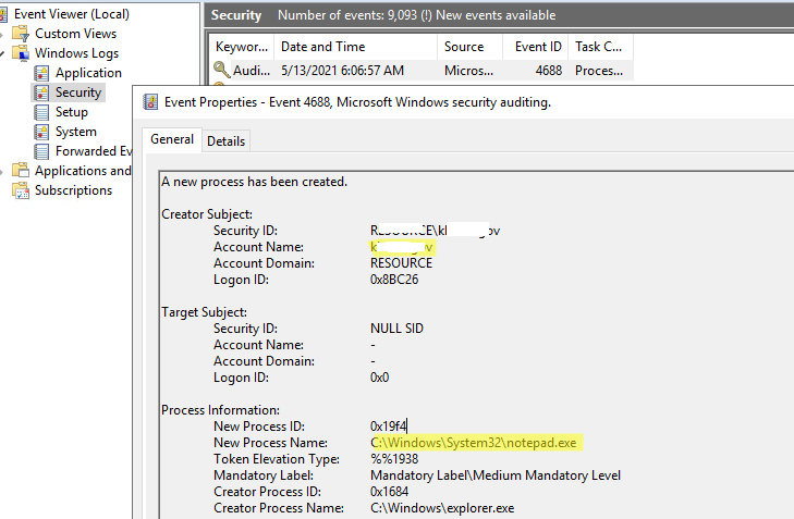 событие в event viewer EventID 4688 (A new process has been created).