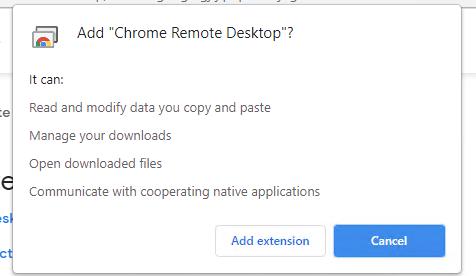 установка расширения Chrome Remote Desktop