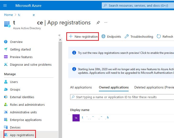 app registration - azure