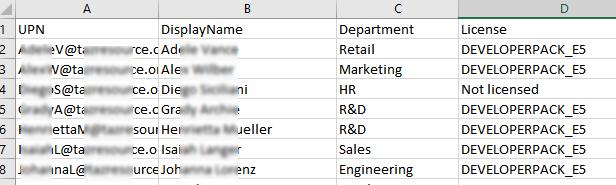CSV отчет по назначенным пользователям лицензиями в Azure