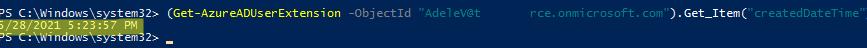Get-AzureADUserExtension createdDateTime
