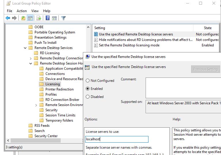 настройка параметров лицензирования RDS сервера через локальную групповую политику