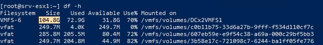 новый размер vmfs хранилища отображается в командной строке esxi