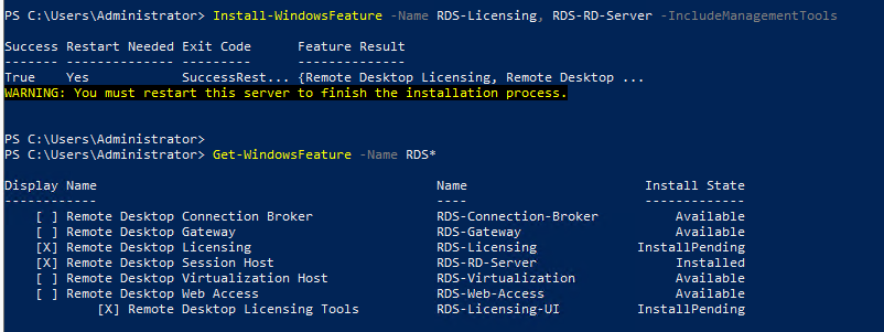 powershell просмотр устаовленных ролей RDS в Windows Server 2019