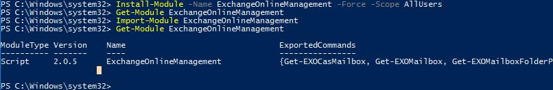 установка модуля EXOv2 (ExchangeOnlineManagement в Windows