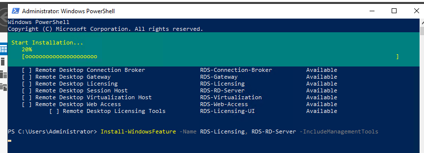 Установка RDS-Licensing, RDS-RD-Server в Windows Server 2019 через PowerShell