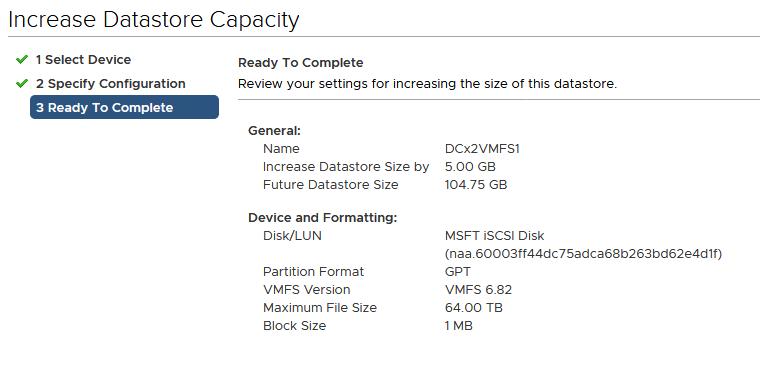 увеличить размер VMFS диска в VMWare