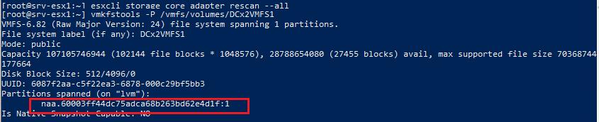 vmkfstools получить имя диска VMFS хранилища