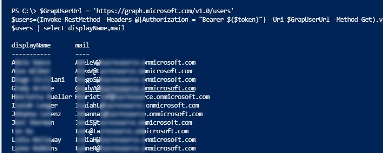 вывод списка пользователей в azure ad через microsoft graph