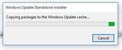 зависает установка обновлений Windows на этапе Копирование пакетов в кэш центра обновлений Windows