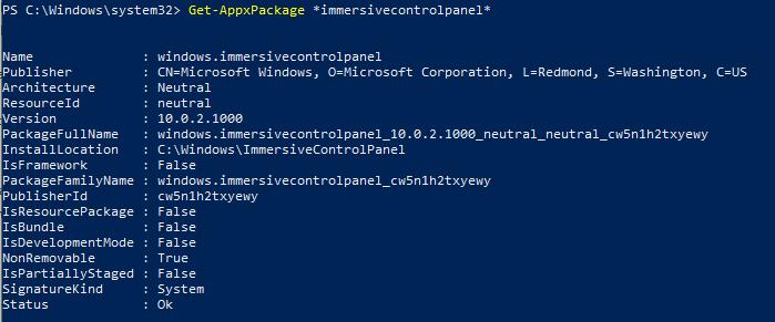 Get-AppxPackage immersivecontrolpanel - приложение Параметры Windows