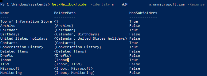 Get-MailboxFolder вывести список папок в ящике Exchange