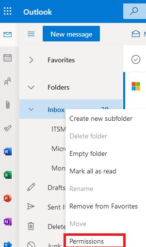 Назначить разрешения на папки в ящике Exchange через Outlook