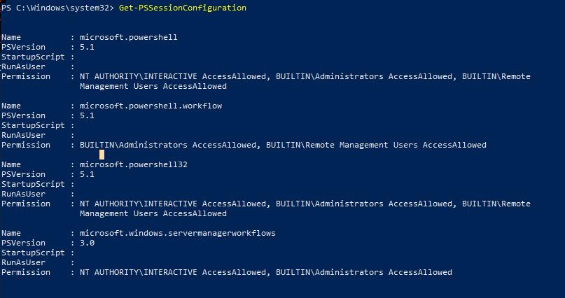 получить настройки PSRemoting с помощью Get-PSSessionConfiguration