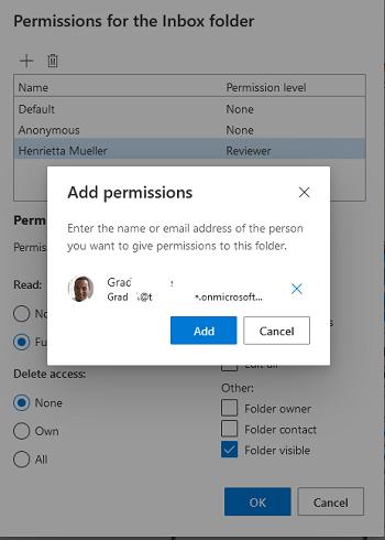 предоставить доступ к папке Inbox в Outlook