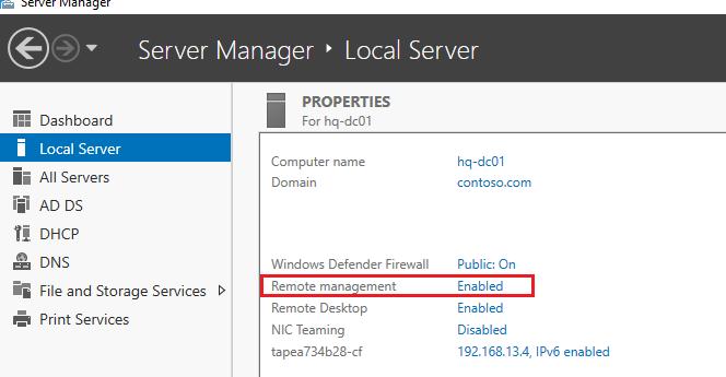 remote management включен в Windows Server 2016 и 2019