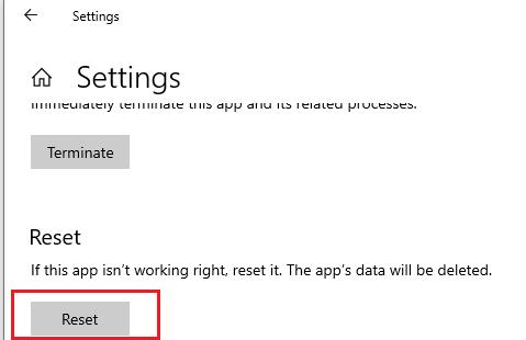 сброс настроек приложения Settings в Windows 10