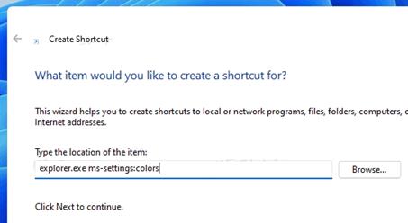 создать ярлык для пункта меню ms-settings
