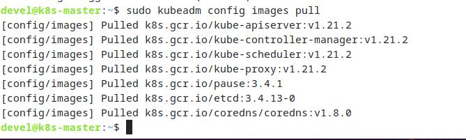 sudo kubeadm config images pull - установка компонентов Kubernetes