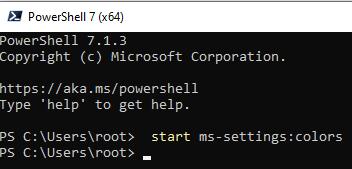 вызов ms-settings через командную строку или powershell