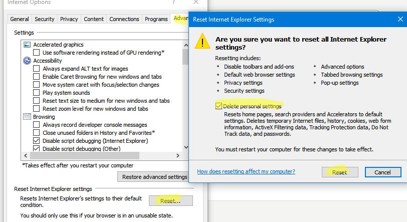 IE сбросить персональные настройки в Windows 10