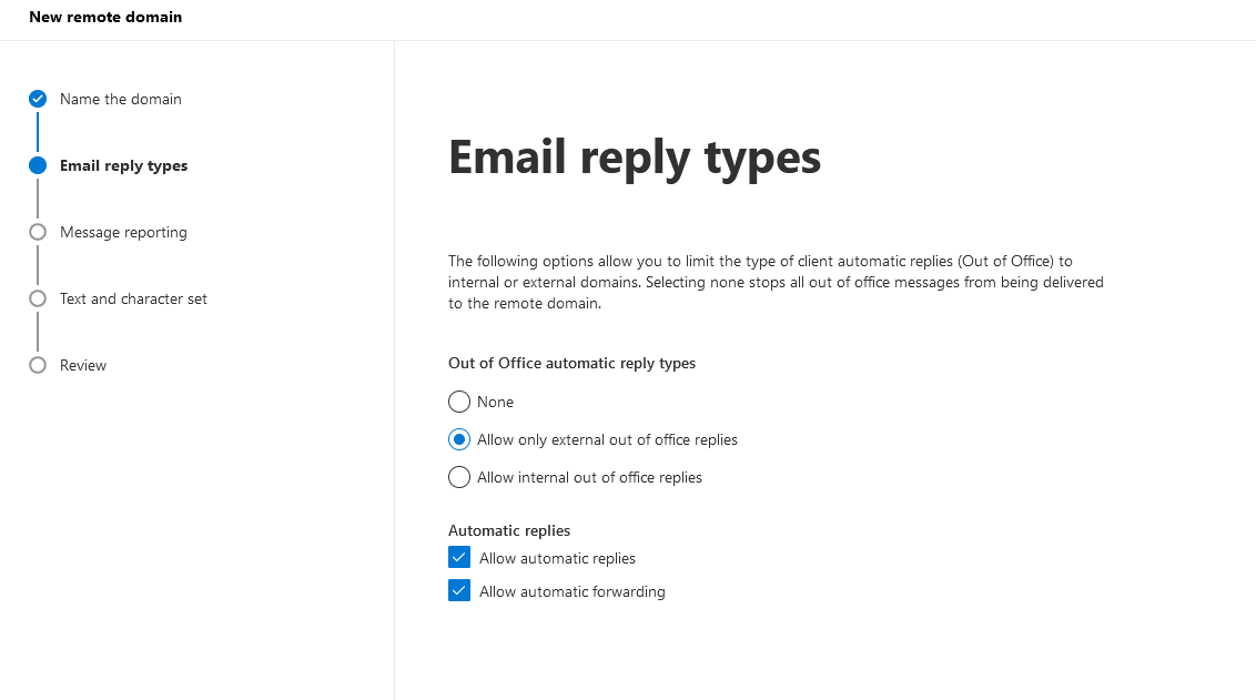 Microsoft 365 Remoter Domains разрешить переадресацию -> Allow automatic forwarding