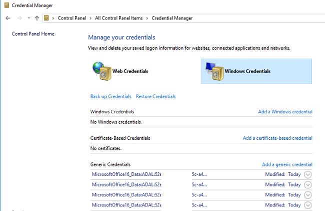 очистка сохраненных паролей office 365 в диспетчере учетных данных Windows