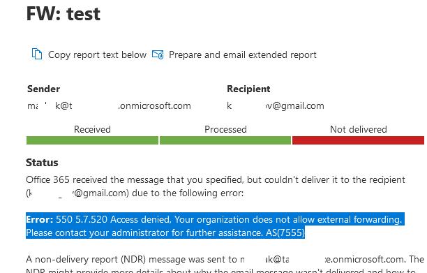 ошибка пересылки почты на внешний email в exchange online (microsoft 365)