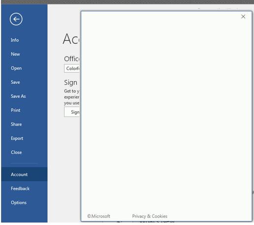 пустое белое окно входа (аутентфикации) в office 365 (outlook, teams, word и другие приложения)