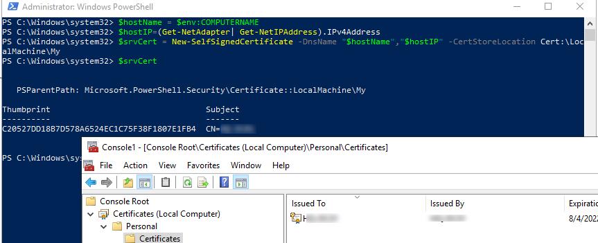 создать самоподписанный SSL сертификат для шифрования winrm трафика