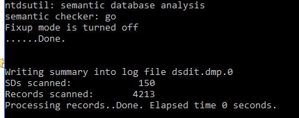 active directory ntdsutil проверка семантики semantic database analysis