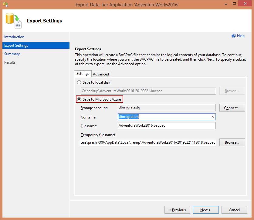 Доступ к хранилищу блога базы данных SQL Azure - Экспорт данных для многоуровневого приложения - Параметры Exprt