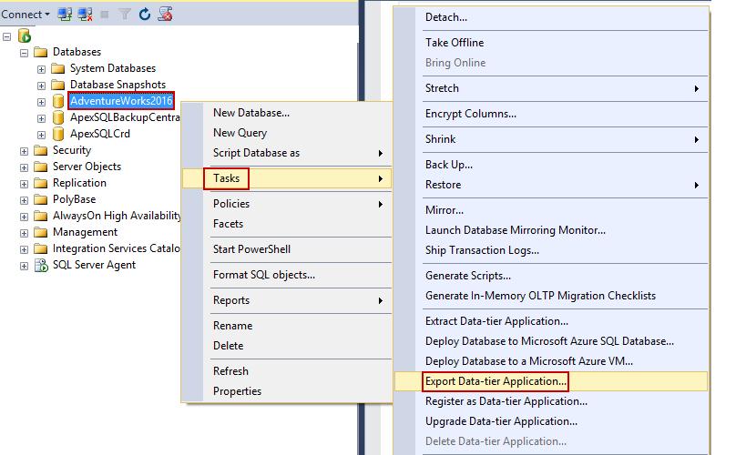 Export Data-tier Application в SQL Server Management
