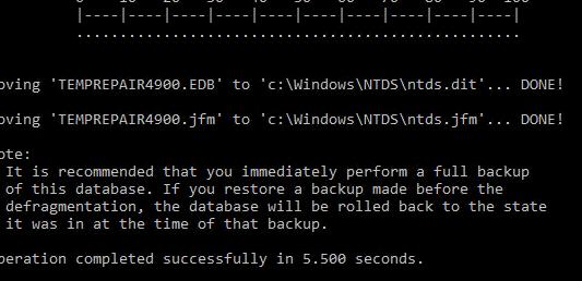 исправить ошибки в файле базы AD ntds.dit