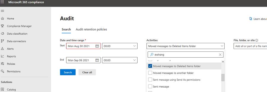 Microsoft 365 Complicate Center поиск по событиям аудита