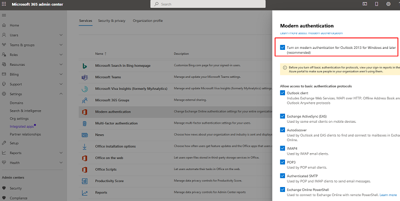 Microsoft 365 включить Turn on modern authentication for Outlook 2013 for Windows and later