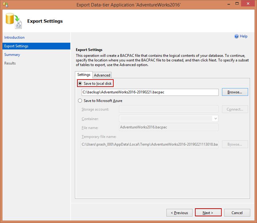 На вкладке «Параметры экспорта» настройте экспорт для сохранения файла BACPAC либо на локальном диске, либо в хранилище BLOB-объектов Azure.
