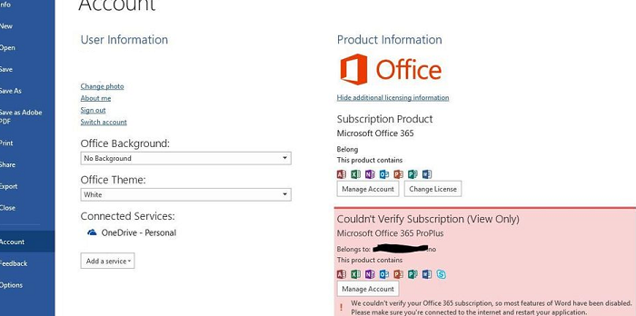 Не удалось проверить подписку We couldn't verify your Office 365 subscription, so most features of Word, Excel, Outlook have been disabled