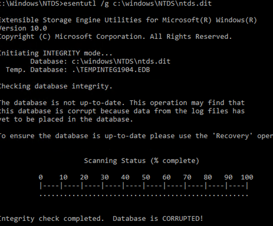 ntdsutil -файл базы Active Directory ntds.dit поврежден